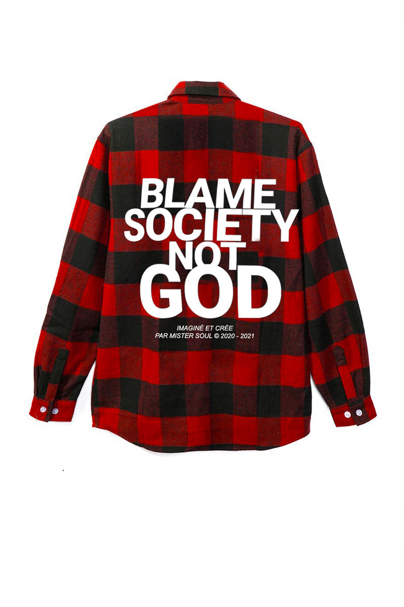 Leroyaume Blame Society Not God Flannel Shirt