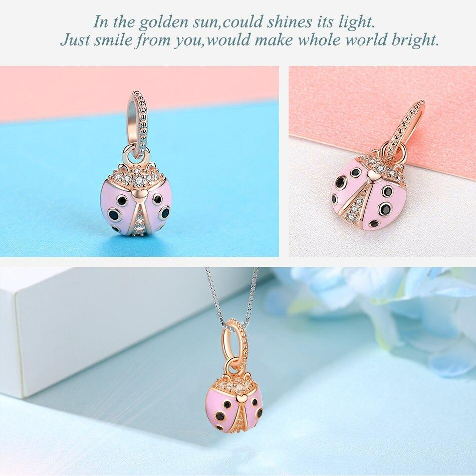 Pink Ladybug Rose Gold Dangle Sterling Silver Pendant Bead Charm - Bolenvi Pandora Disney Chamilia Jewelry