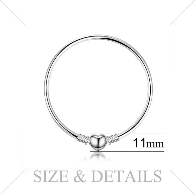 Classic Heart Sterling Silver Bangle Bead Charm Bracelet - Bolenvi
