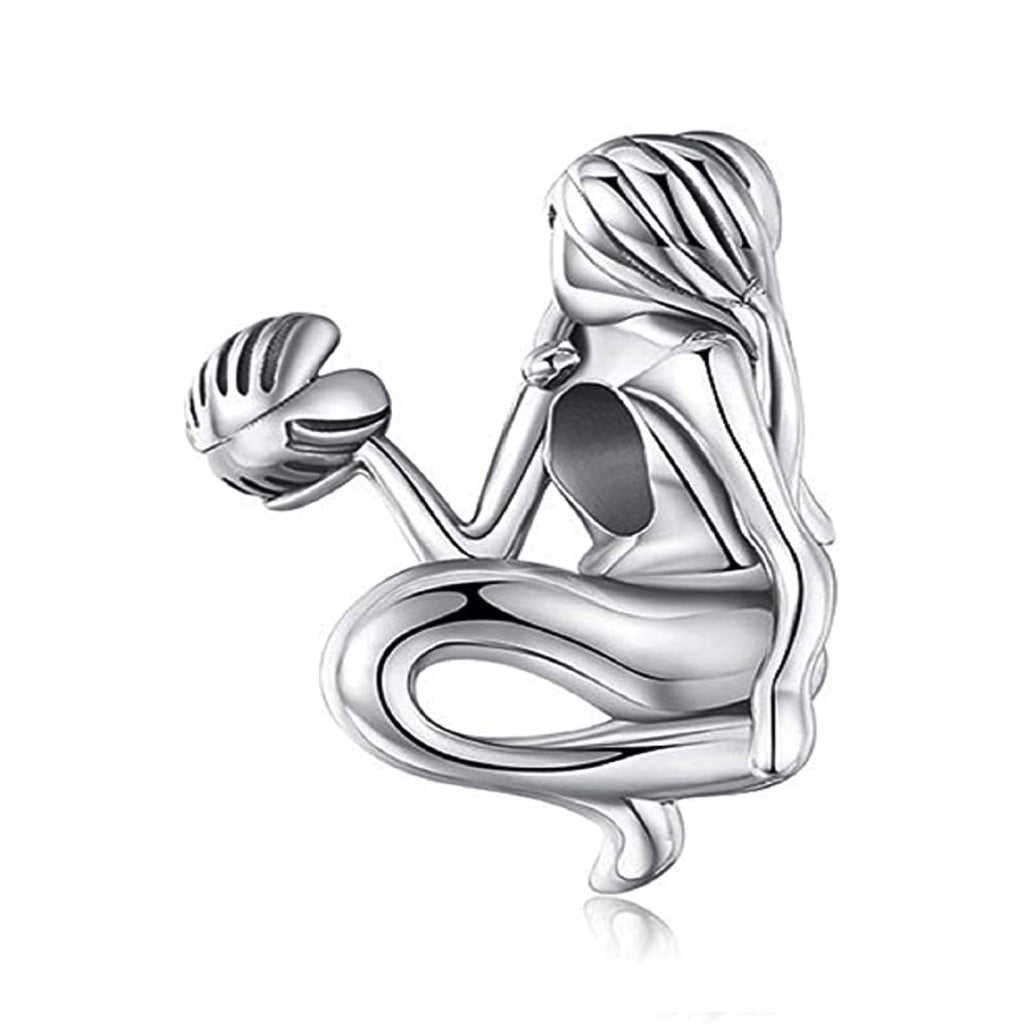 Mermaid With Shell Sterling Silver Bead Charm - Bolenvi Pandora Disney Chamilia Jewelry