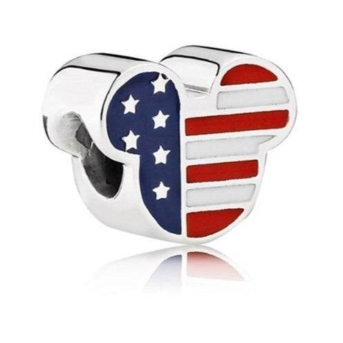 USA Mickey Mouse United Stated of America Flag Sterling Silver Bead Charm - Bolenvi Pandora Disney Chamilia Jewelry