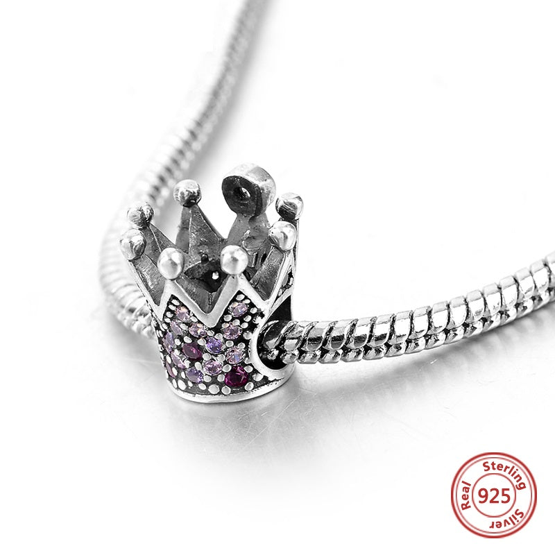 Crystal Queen Crown Sterling Silver Bead Charm - Bolenvi Pandora Disney Chamilia Jewelry