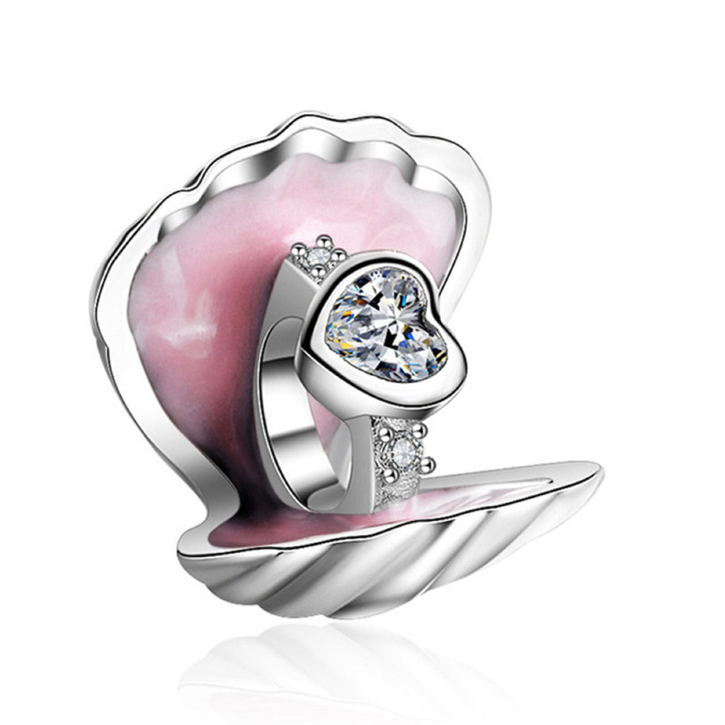 Ring in Shell Sterling Silver Bead Charm - Bolenvi Pandora Disney Chamilia Jewelry