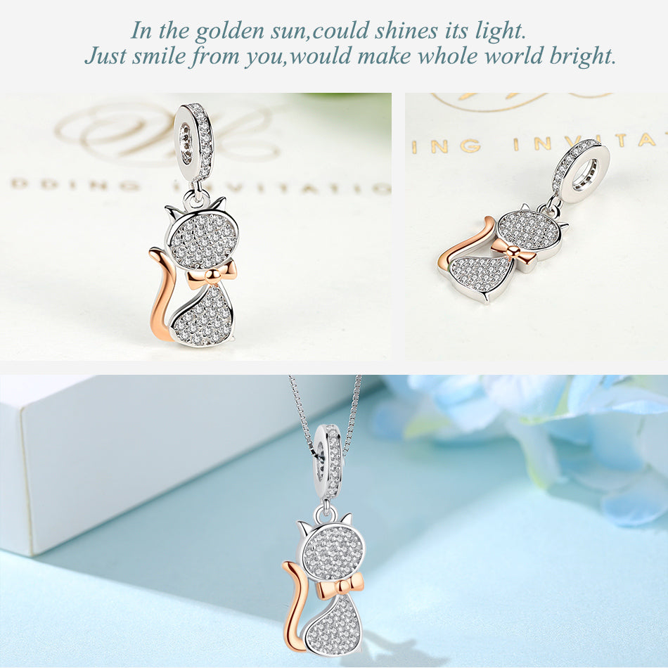Rose Gold Kitty Cat Dangling Sterling SIlver Bead Charm - Bolenvi Pandora Disney Chamilia Jewelry