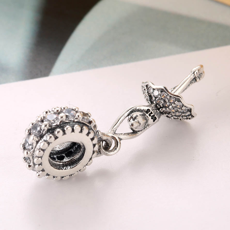 Crystal Ballerina Sterling Silver Dangle Bead Charm - Bolenvi Pandora Disney Chamilia Jewelry