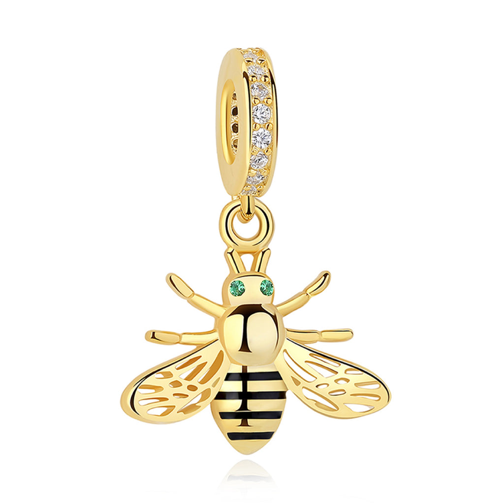 Golden Honey Bee Sterling Silver Bead Charm - Bolenvi Pandora Disney Chamilia Jewelry