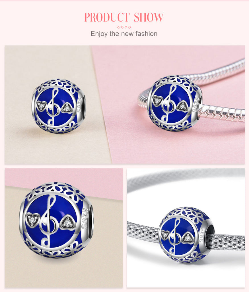 Music Note Blues Sterling Silver Bead Charm - Bolenvi Pandora Disney Chamilia Jewelry