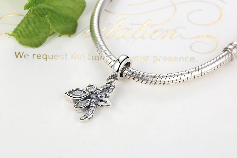 Crystallized Dragonfly Sterling Silver Dangle Bead Charm - Bolenvi Pandora Disney Chamilia Jewelry