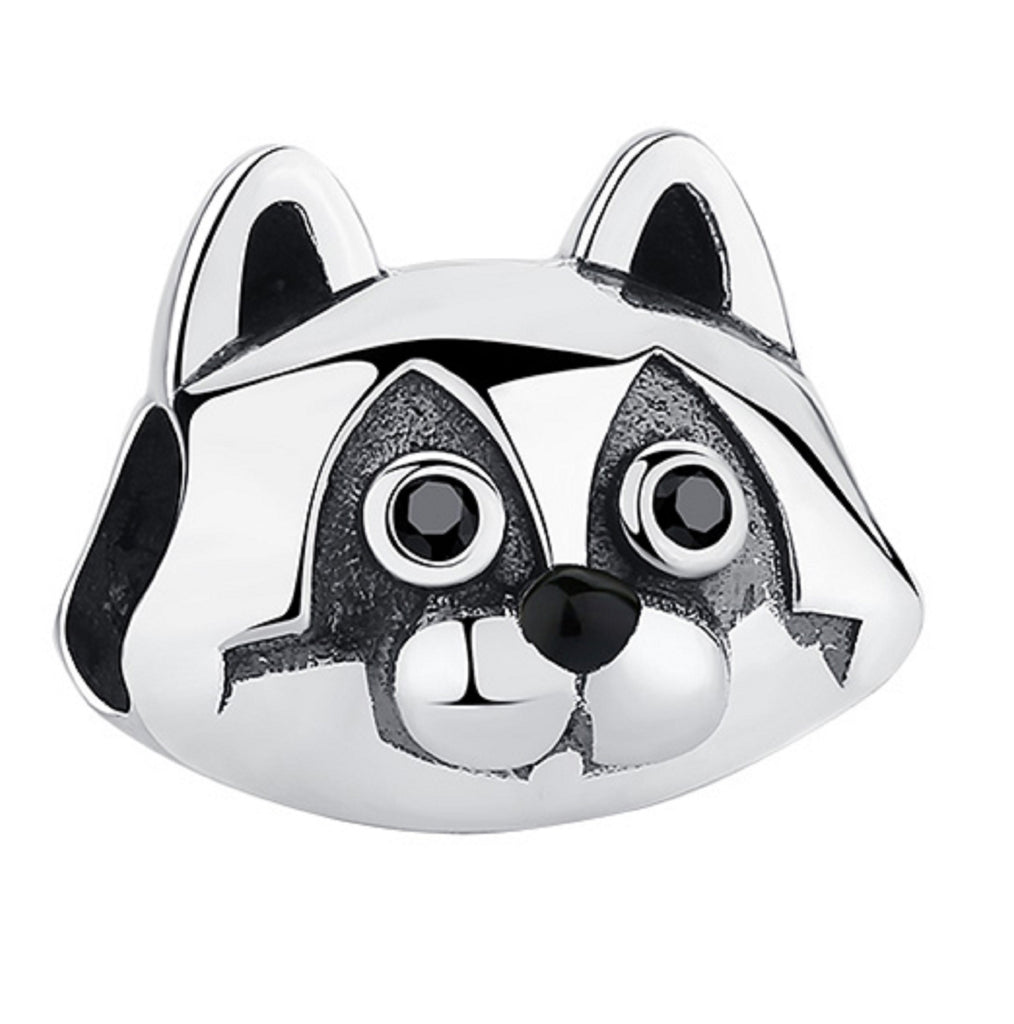 Raccoon Head Sterling Silver Bead Charm - Bolenvi Pandora Disney Chamilia Jewelry