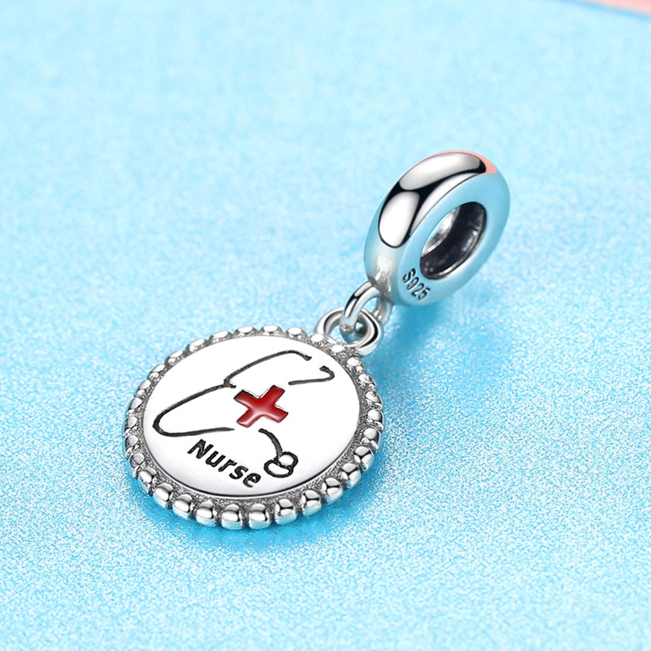 Nurse Caduceus Dangle Sterling Silver Bead Charm - Bolenvi Pandora Disney Chamilia Jewelry
