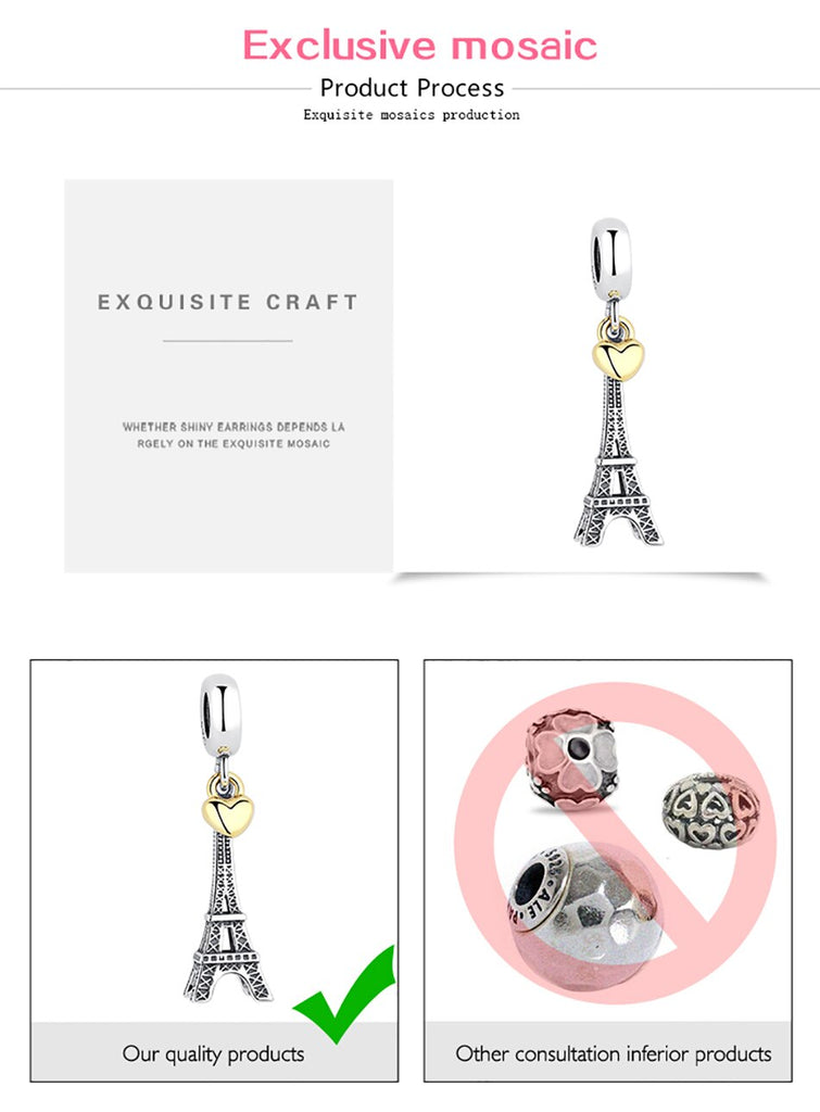 Eiffel Tower Paris France Gold Heart Sterling Silver Dangling Pendant Bead Charm - Bolenvi Pandora Disney Chamilia Jewelry