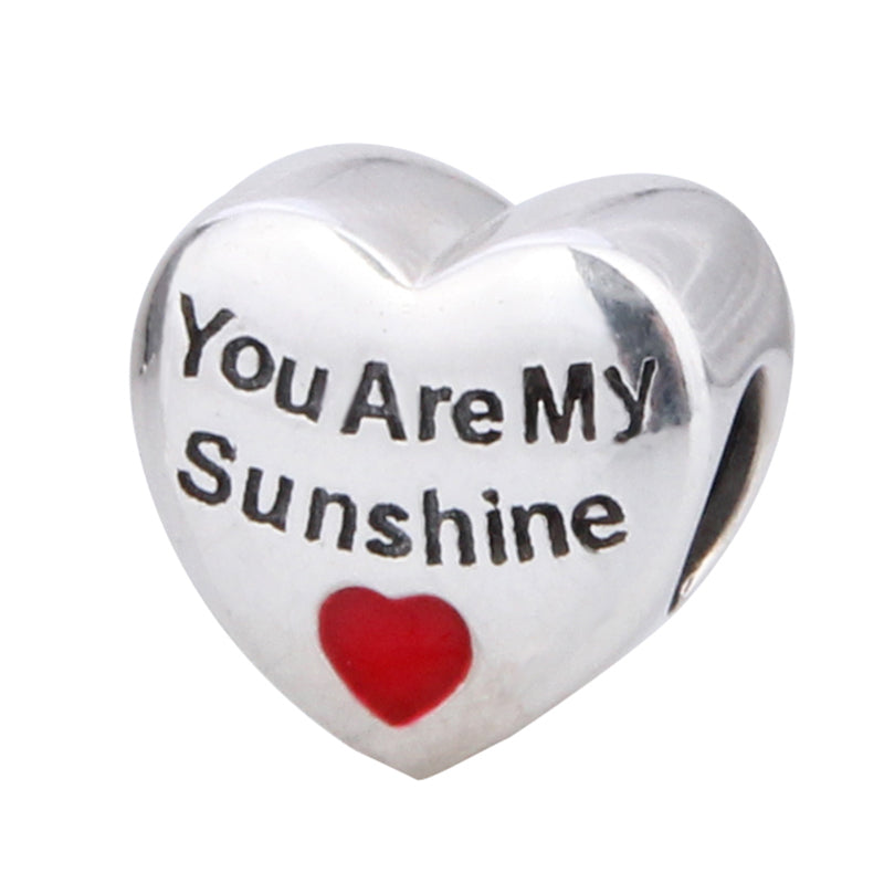 You Are My Sunshine Heart Sterling Silver Bead Charm - Bolenvi Pandora Disney Chamilia Jewelry