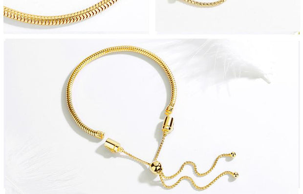 Adjustable Yellow Gold Moments Snake Chain Bead Charm Bracelet - Bolenvi Pandora Disney