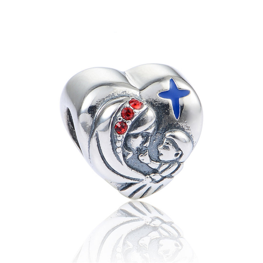 Virgin Mary & Jesus Sterling Silver Bead Charm - Bolenvi Pandora Disney Chamilia Jewelry