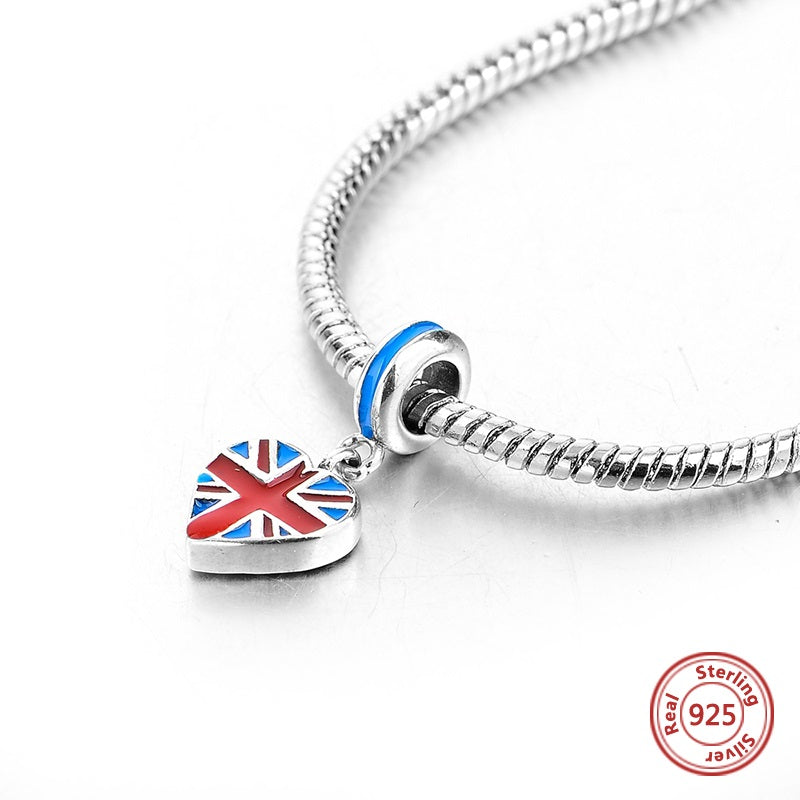 UK Flag Sterling Silver Bead Charm - Bolenvi Pandora Disney Chamilia Jewelry