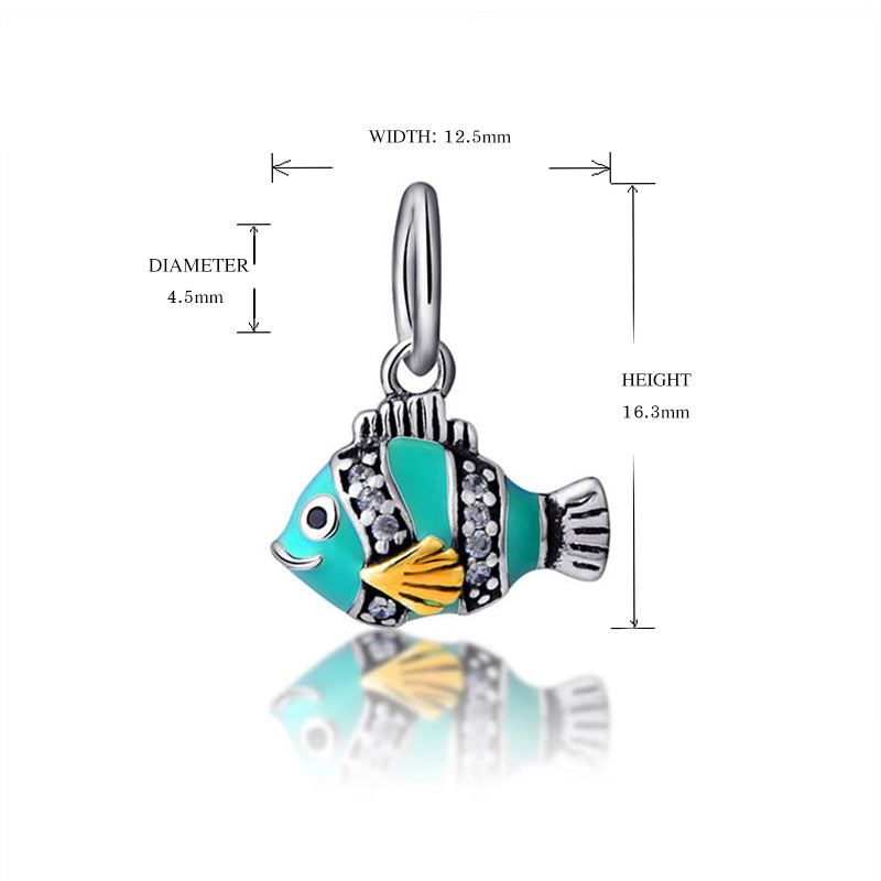 Colorful Fish Bead Sterling Silver Dangle Charm - Bolenvi Pandora Disney Chamilia Jewelry