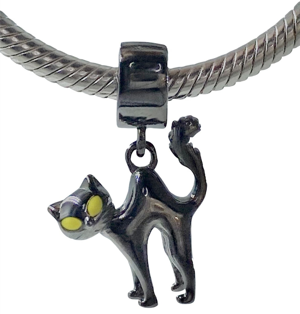 Black Kitty Cat Dangle Sterling Silver Clip On Pendant X Bead Charm - Bolenvi Pandora Disney Chamilia Jewelry