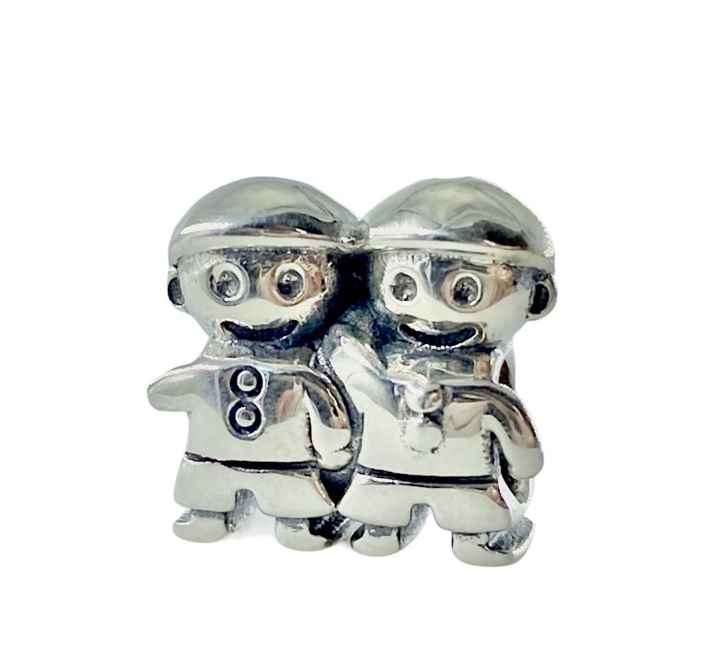 Two Brothers Twins Sons Boys Sterling Silver Bead Charm - Bolenvi Pandora Disney Chamilia Jewelry