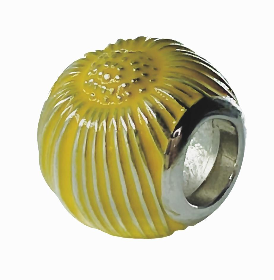 Yellow Sunflower Sun Flower Ball Sterling Silver Bead Charm - Bolenvi Pandora Disney Chamilia Jewelry