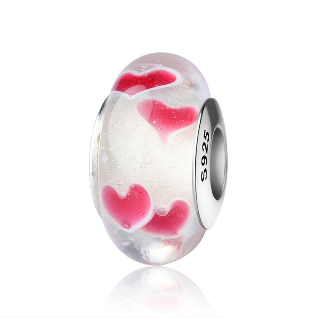 Red Hearts Murano Glass Bead Charm - Bolenvi Pandora Disney Chamilia Jewelry