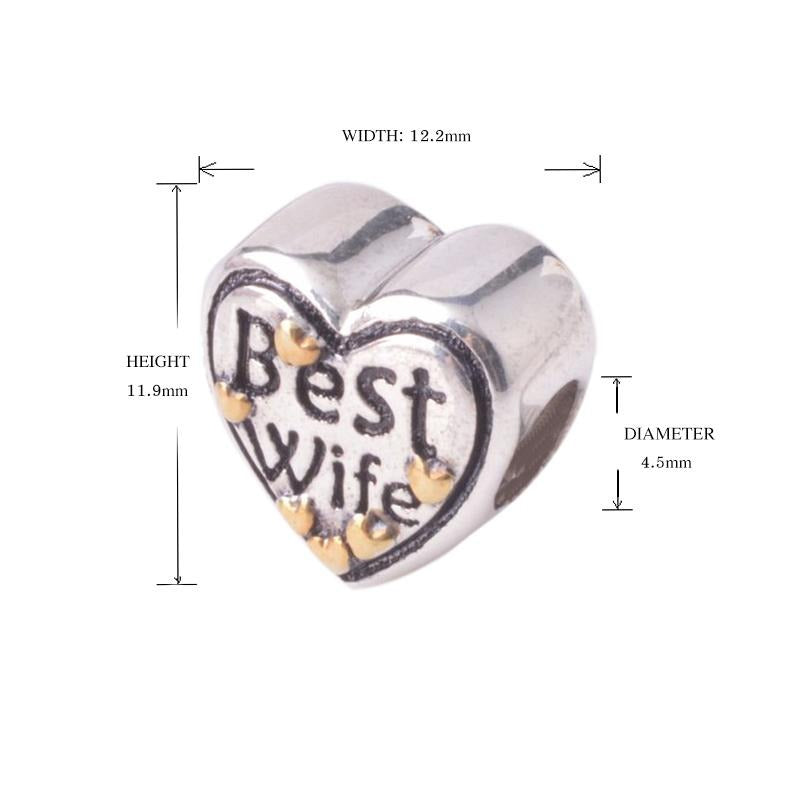 Best Wife Heart Sterling Silver Bead Charm - Bolenvi Pandora Disney Chamilia Jewelry