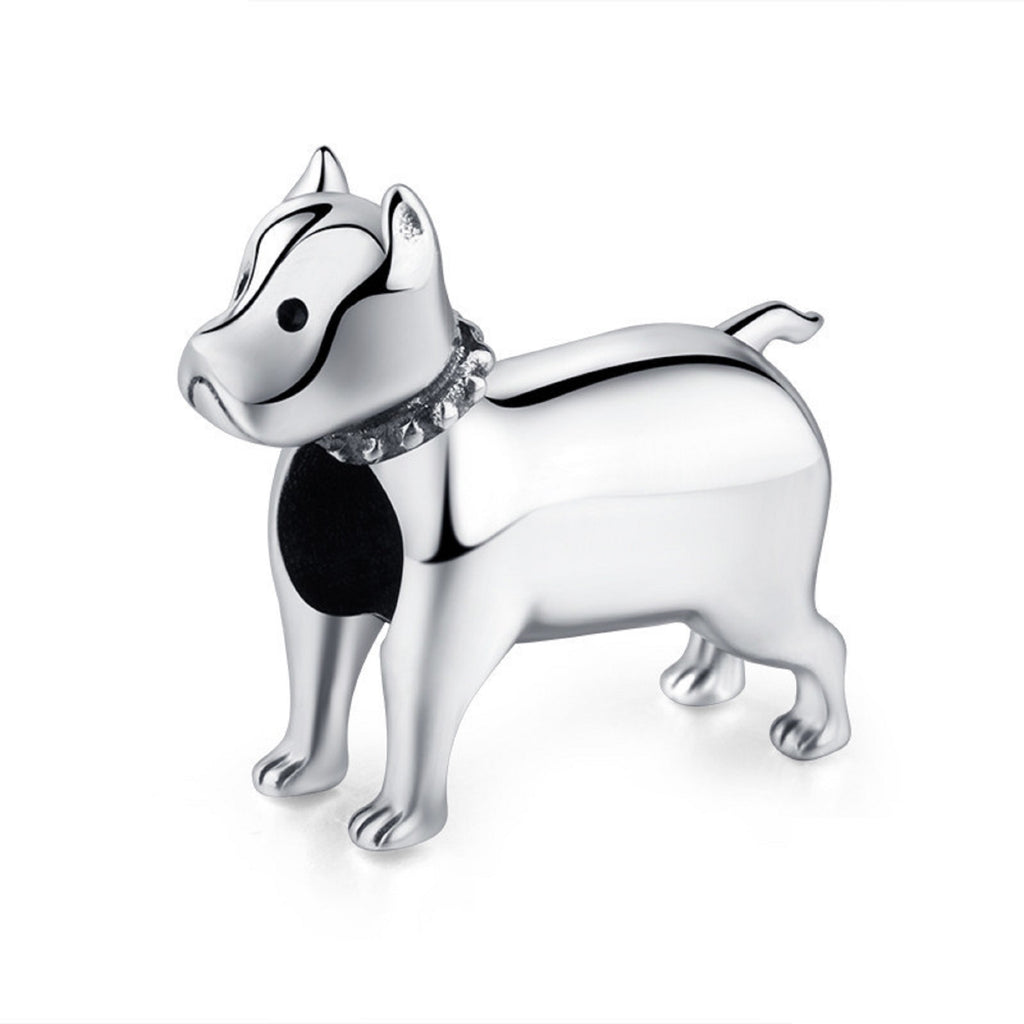 Pitbull Bully Dog Sterling Silver Bead Charm - Bolenvi Pandora Disney Chamilia Jewelry