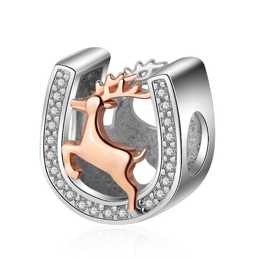 Lucky Deer Horseshoe Rose Gold on Sterling Silver Bead Charm - Bolenvi Pandora Disney Chamilia Jewelry