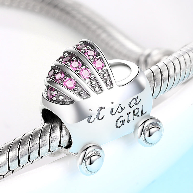 It's A Girl Baby Carriage Bead Charm - Bolenvi Pandora Disney