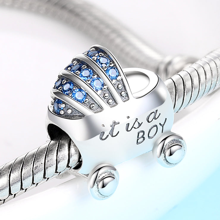It's A Boy Baby Carriage Bead Charm - Bolenvi Pandora Disney