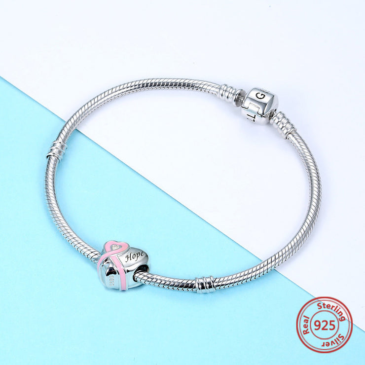 Hope Ribbon Heart Bead Charm - Bolenvi Pandora Disney