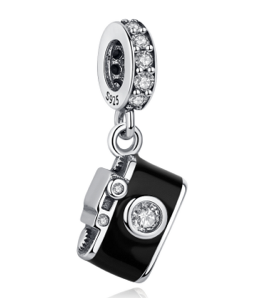 Crystal Camera Sterling Silver Dangle Bead Charm - Bolenvi Pandora Disney Chamilia Jewelry