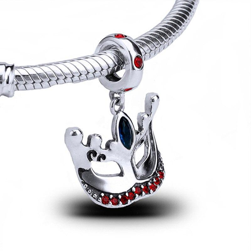 Masquerade Mask Dangle Sterling Silver Bead Charm - Bolenvi Pandora Disney Chamilia Jewelry