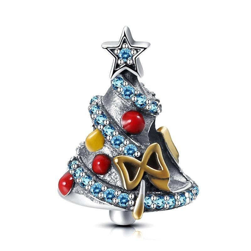 Christmas Tree & Star Sterling Silver Bead Charm - Bolenvi Pandora Disney Chamilia Jewelry