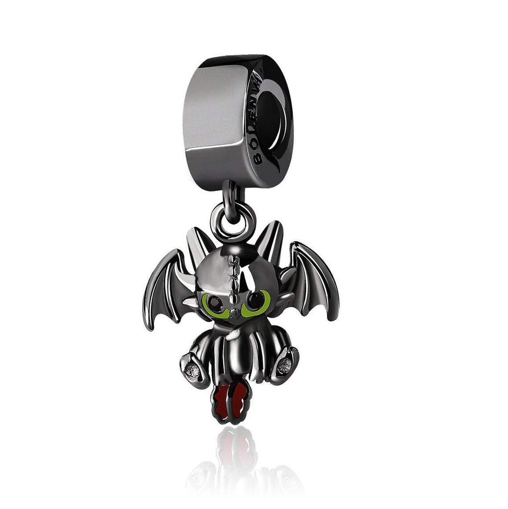 Toothless Dragon Black Enamel Dangle Sterling Silver Clip On Pendant X Bead Charm - Bolenvi Pandora Disney Chamilia Jewelry