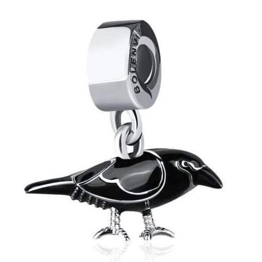 Raven Scare Crow Black Enamel Dangle Sterling Silver Clip On Pendant X Bead Charm - Bolenvi Pandora Disney Chamilia Jewelry