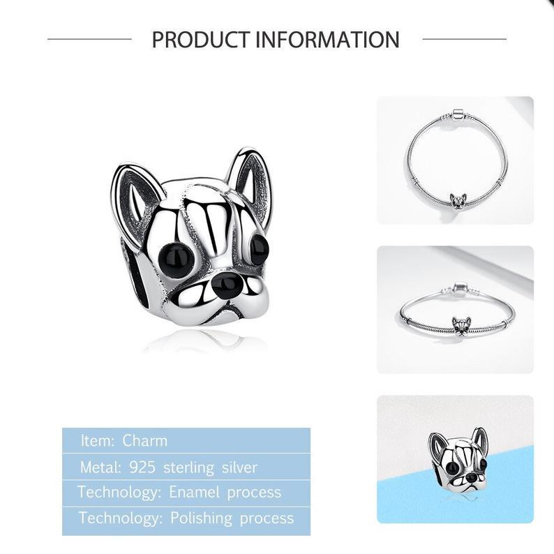 Boston Terrier Bulldog Dog Head Sterling Silver Bead Charm - Bolenvi Pandora Disney Chamilia Jewelry