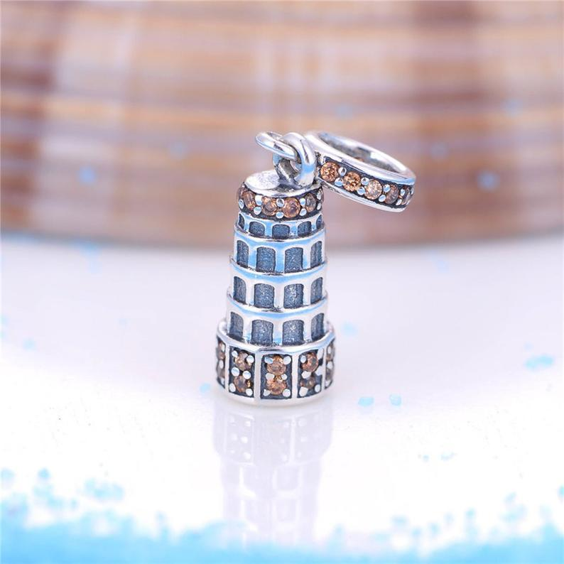 Crystal Leaning Tower of Pisa Italy Sterling Silver Dangling Pendant Bead Charm - Bolenvi Pandora Disney Chamilia Jewelry