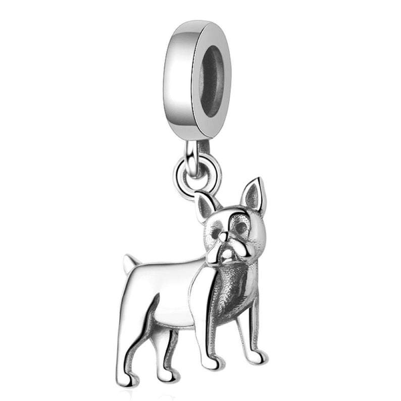 Boston Terrier French Bulldog Bull Dog Sterling Silver Pendant Bead Charm - Bolenvi Pandora Disney Chamilia Jewelry