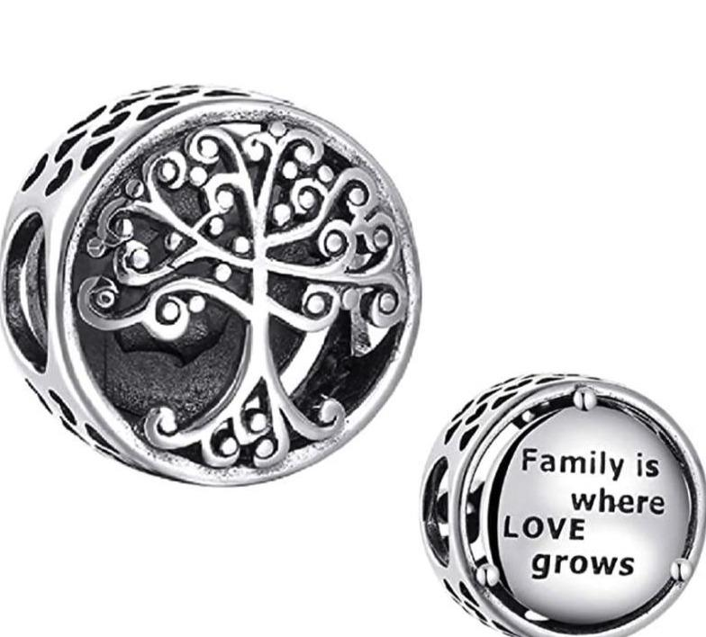 Family Tree Where Love Grows Sterling Silver Bead Charm - Bolenvi Pandora Disney Chamilia Jewelry