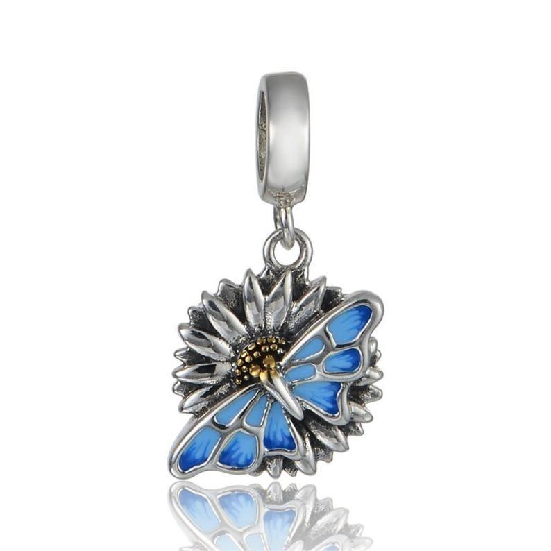 Monarch Blue Butterfly on Sunflower Sterling Silver Bead Charm - Bolenvi Pandora Disney Chamilia Jewelry