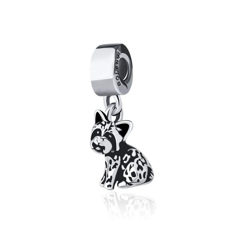 Yorkie Yorkshire Terrier Dog Sterling Silver Clip On Dangle Pendant X Bead Charm - Bolenvi Pandora Disney Chamilia Jewelry