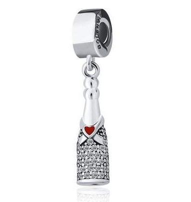 Celebration Champagne Drink Bottle Sterling Silver Clip On Dangle Pendant X Bead Charm - Bolenvi Pandora Disney Chamilia Jewelry