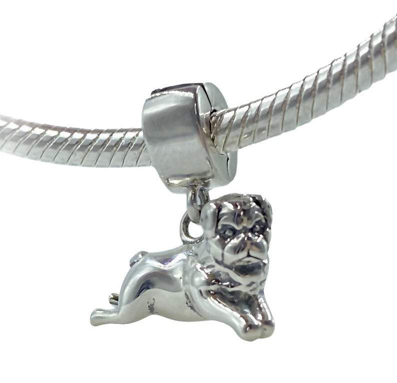 Pug Puggle Mastiff Dog Sterling Silver Clip On Dangle Pendant X Bead Charm - Bolenvi Pandora Disney Chamilia Jewelry