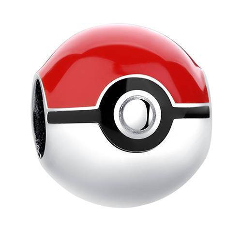 Pokeball Pokemon Red White Ball Sterling Silver Bead Charm - Bolenvi Pandora Disney Chamilia Jewelry
