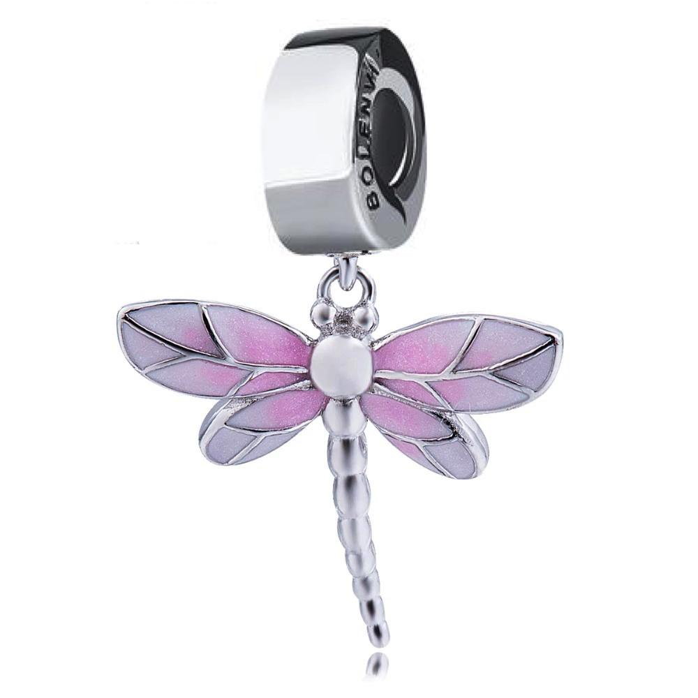 Pink Dragonfly Dangle Sterling Silver Clip On Pendant X Bead Charm - Bolenvi Pandora Disney Chamilia Jewelry
