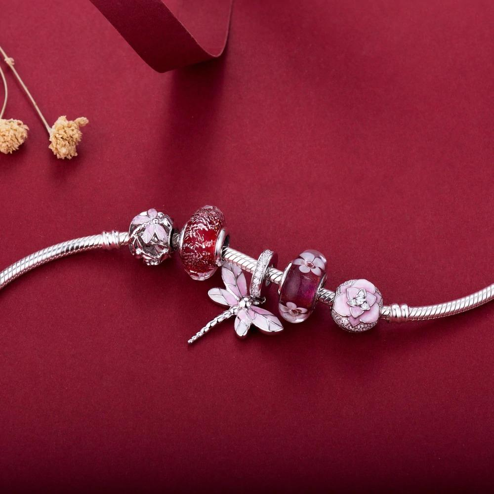 Dazzling Pink Dragonfly Ball Ball Sterling Silver Bead Charm - Bolenvi Pandora Disney Chamilia Jewelry