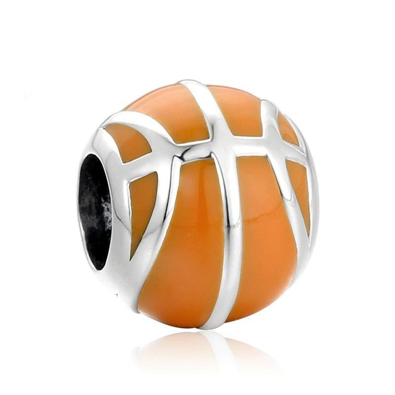 Realistic Orange Basketball Sterling Silver Bead Charm - Bolenvi Pandora Disney Chamilia Jewelry
