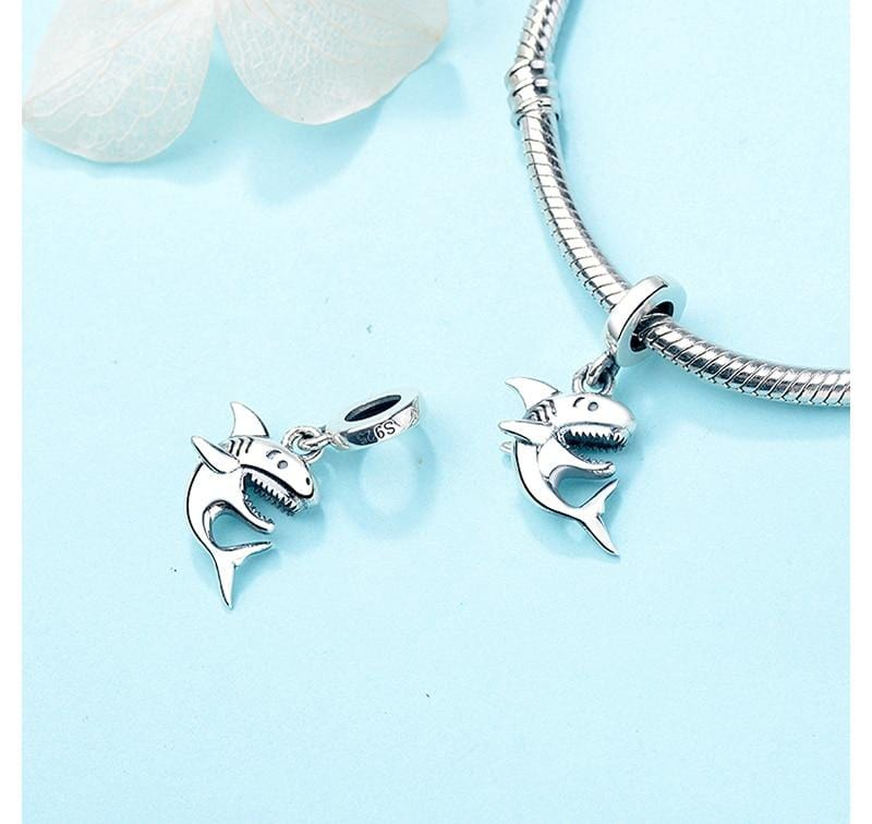 Happy Shark Sterling Silver Bead Charm - Bolenvi Pandora Disney Chamilia Jewelry