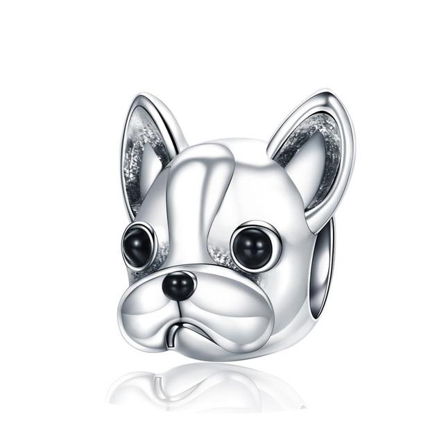 French Bulldog Dog Sterling Silver Bead Charm - Bolenvi Pandora Disney Chamilia Jewelry