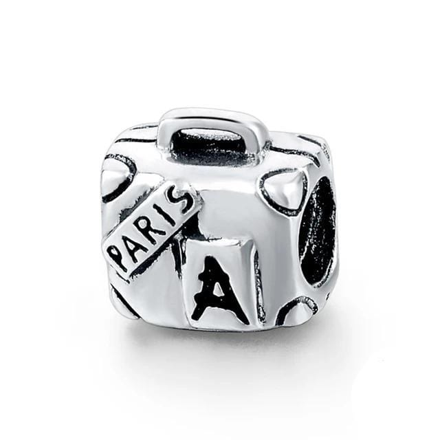 Paris Travelers Luggage Sterling Silver Bead Charm - Bolenvi Pandora Disney Chamilia Jewelry